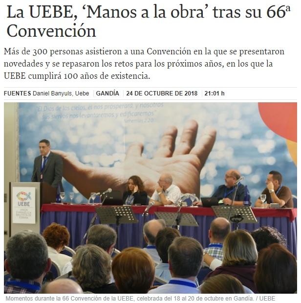 La UEBE, 'Manos a la obra' tras su 66ª Convención