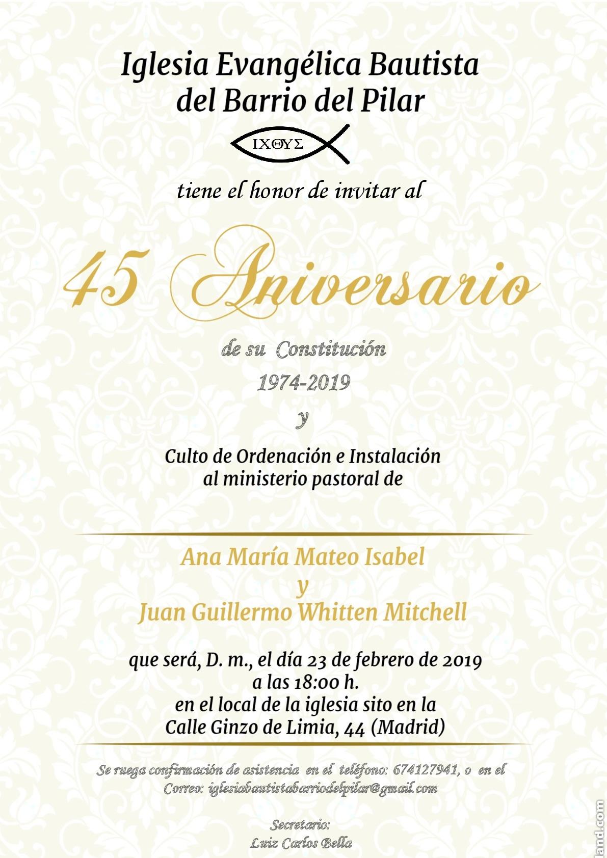 Invitación 45 Aniversario y ordenación pastoral